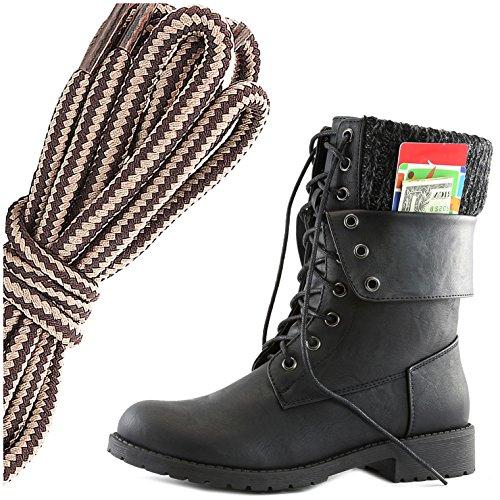 Dailyshoes Dames Militair Veter-up Gesp Combat-laarzen Enkel Middenkalf Opvouwbaar Exclusief Creditcardvak, Bruin Taupe, Zwart Pu, 7 2a (n) Us