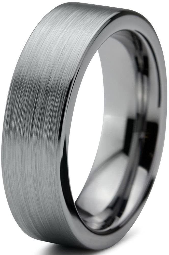 Tungsten Wedding Band Ring 6mm for Men Women Comfort Fit Flat Pipe Cut Brushed Charming Jewelers CJCDN-019