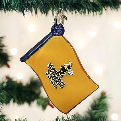 Amazon.com : OLD WORLD CHRISTMAS GEORGIA TECH FLAG BLOWN GLASS ORNAMENT  3.5