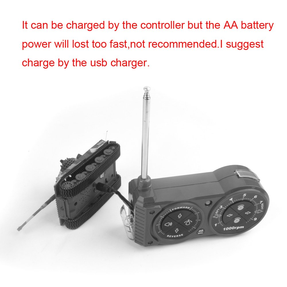 YouCute Mini RC Tank con Cable Cargador USB Control Remoto Tanque Panzer 1:72 German Tiger I con Sonido torreta giratoria y acci/ón de Retroceso Cuando lmanuale Italiano Verde