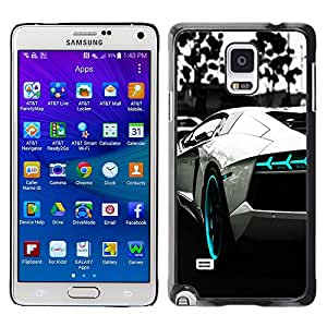 GIFT CHOICE / SmartPhone Carcasa Teléfono móvil Funda de protección Duro Caso Case para Samsung Galaxy Note 4 /B&W BLUE AVENTADOR/