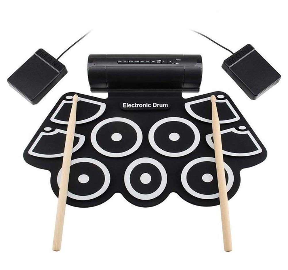 Electronic drum Set, USB Thicken Portable Roll Up Drum Pad Kits Foldable Musical Practice Instrument,Built-in Metronome Dual Speakers