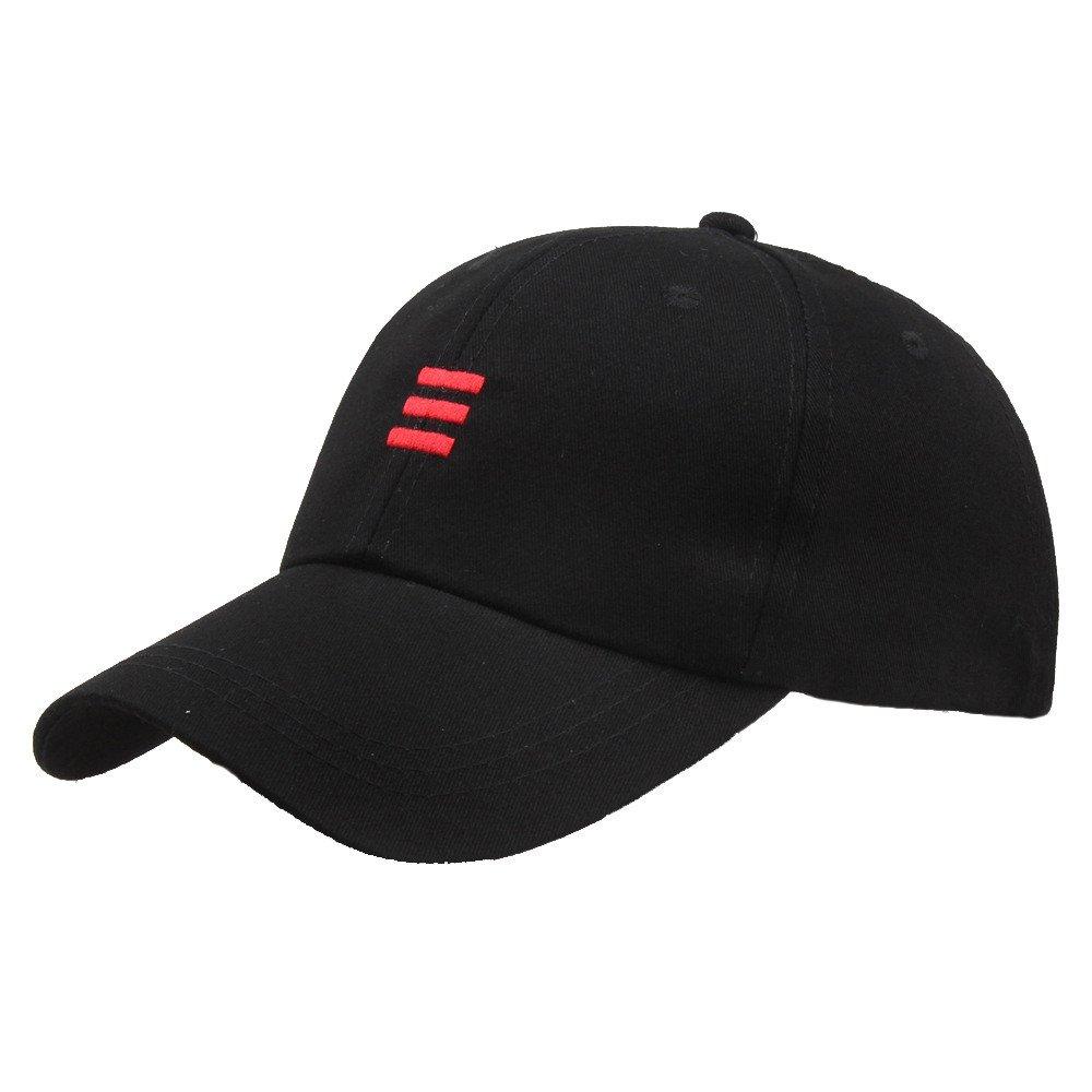 Lmtime Vintage Baseball Caps Embroidered Stripe Peaked Hats, Hip-Hop Curved Snapback Outdoor Cap (Black) by Lmtime (Image #1)
