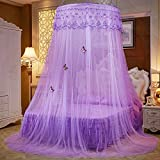 Lustar Court Style Mosquito Net Bed Canopy For Children Fly Insect Protection Indoor Decorative Height 270cm Top Diameter 1.2m For 1-2m Bed,Purple