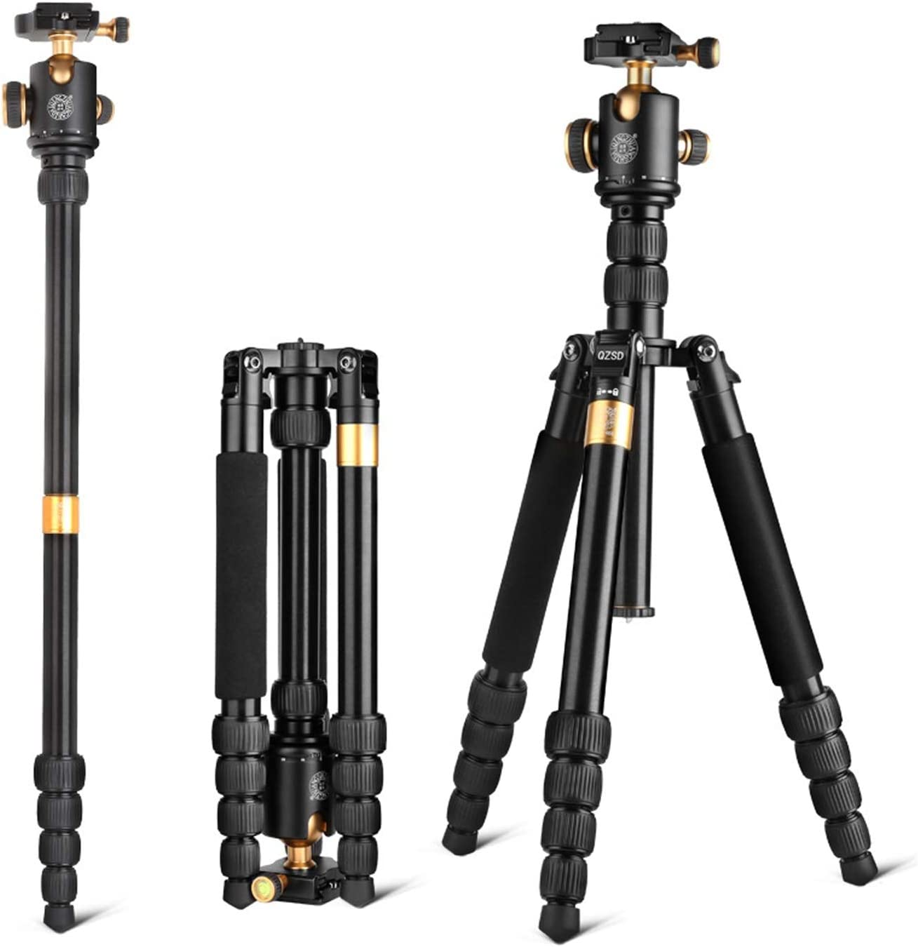 Color : Black LLluckyHW DSLR Tripod Travel Tripod Photography Video Shooting Carrying Bag for Travel Use as Camera Tripod Cameras Up to 22 Pounds Travel Tripod