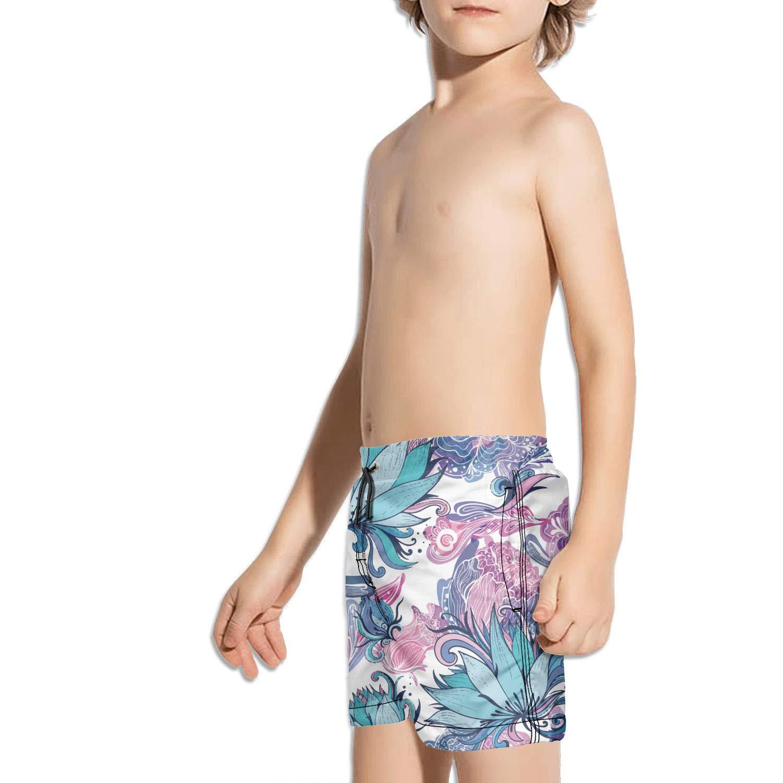 Ouxioaz Boys Swim Trunk Vintage Japanese Lotus Art Beach Board Shorts