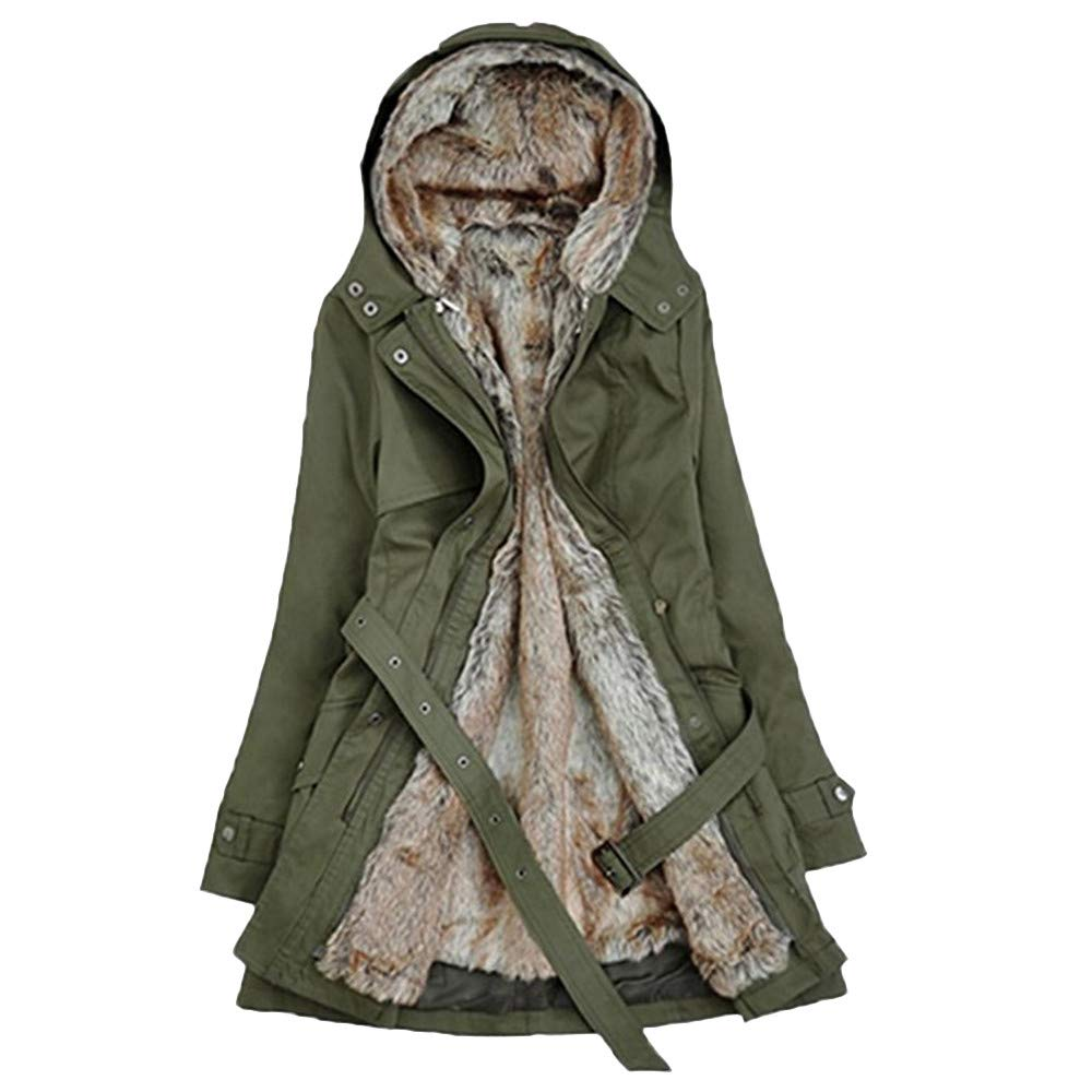 NUWFOR Military Outwear Coat Womens Hooded Warm Winter Faux Fur Lined Parkas Anroaks Long Coats for Winter(Green,S)