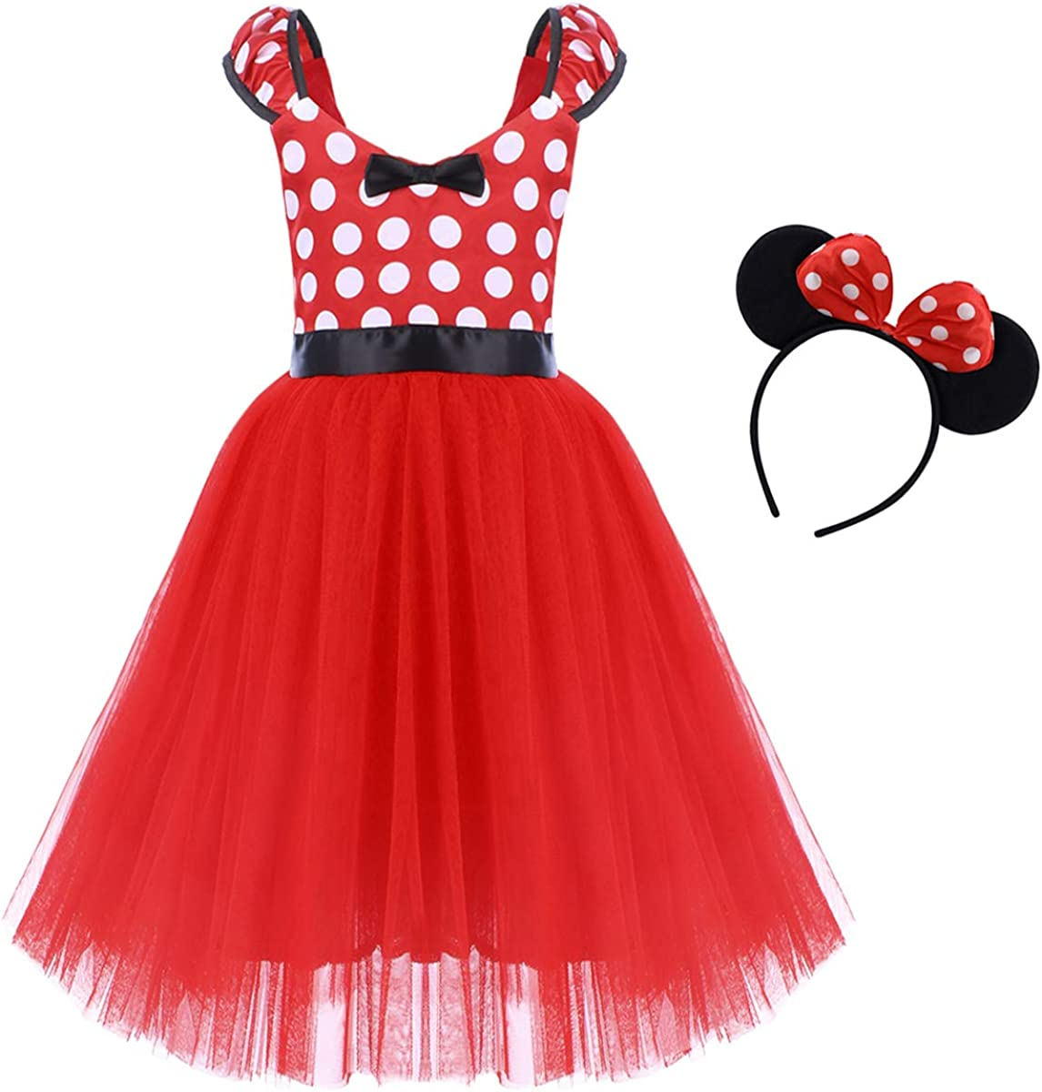FYMNSI Kids Toddler Baby Girls Polka Dot Tutu Tulle Princess Dress Sleeveless Bowknot Long//Short Mouse Dress Up with Headband 2pcs Outfit for Birthday Party Pageant Christmas Carnival