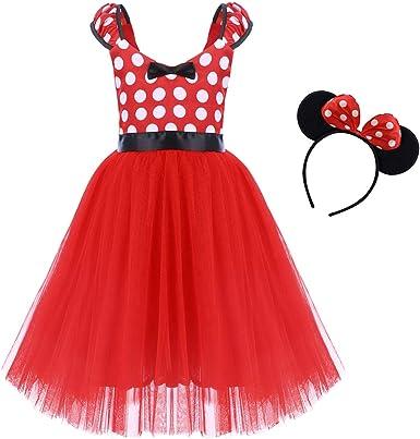 IWEMEK Princesa Disfraz de Minnie para Bebé Niña Navidad de los Lunares del Vestido del Tutú de Tul Cumpleaños Fantasía Infantiles Vestido Carnaval Bautizo Ballet Baile con Diadema 1-7 Años: Amazon.es: Ropa