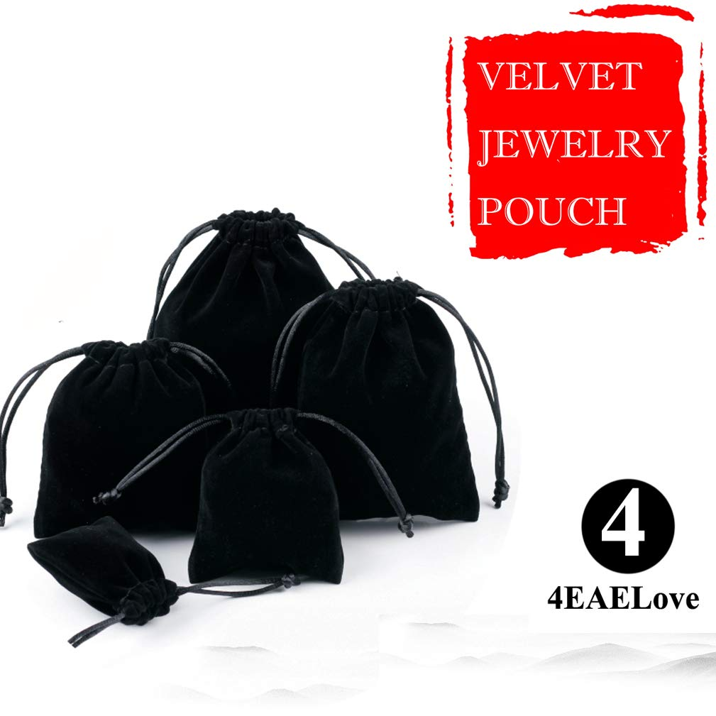 4EAELove Black Velvet Jewelry Pouch Package Drawstring Bags Gift Storage Display Holder Case Organizer 100pc