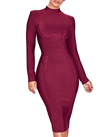 8314843643eb UONBOX Women's Rayon Long Sleeves Midi Fall Winter Night Club Party Bodycon  Bandage Dress (XS