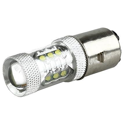 Bombilla - SODIAL(R)80W BA20D H6 blanco16 LED Bombilla de linterna de motocicleta
