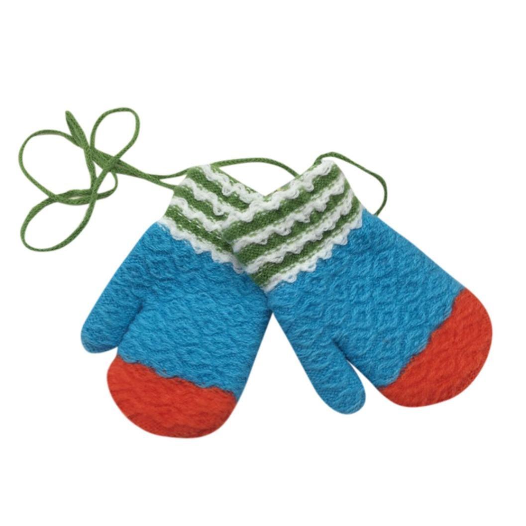 Digood Toddler Newborn Baby Girls Boys Mitten Winter Stripe Cute Thick Warm Gloves With String Line