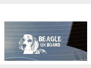 Car Window Sticker Beagle on Board English Dog Sign Decal Gift Idea V02