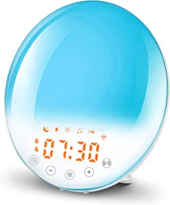 Hoplet Wake Up Light Sunrise Alarm Clock Smart WiFi Sunset Simulation Digital LED Clock APP Control with FM Radio/Dual Alarms/8 Natural Sounds/recording/Snooze/30 Brightness/7 Colors Dim Night Light
