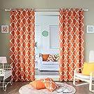 "Best Home Fashion Room Darkening Blackout Moroccan Print Curtains - Antique Bronze Grommet Top - Orange - 52""W x 84""L - (Set of 2 Panels)"