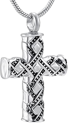 Mens Stainless Steel Flower Cross Keepsake Pendant Chain Necklace Silver
