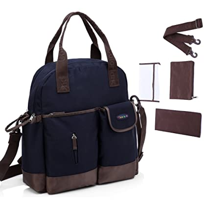 Centro de la mujer pañales Nappy Bolsa 4pcs mochila lunares Caqui liwen-dark blue