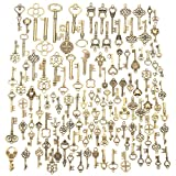 Jeteven 125pcs Vintage Skeleton Key Charm Set Necklace Bracelet Pendant Jewelry DIY Making Supplies Wedding Favors