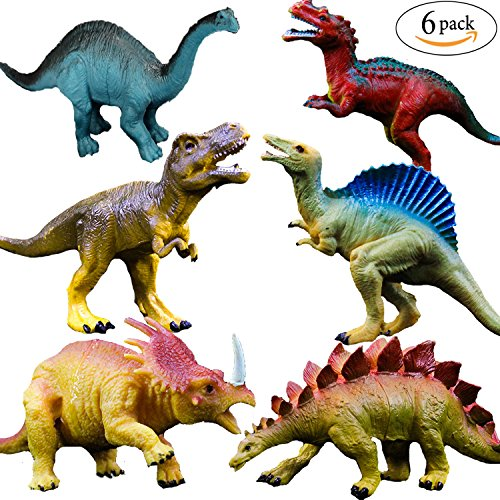 OuMuaMua Realistic Dinosaur Figure Toys - 6 Pack 7 Large Size Plastic Dinosaur set for Kids and Toddler Education, Including T-rex, Stegosaurus, Monoclonius, etc