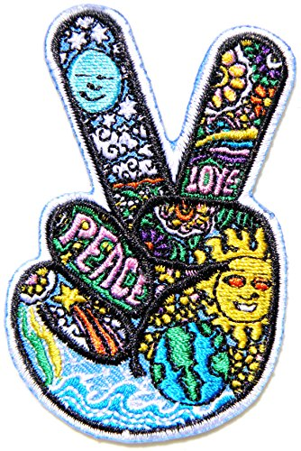 Victory V Peace Hand Finger Sign Kid Baby Jacket T-shirt Patch Sew Iron on Embroidered Sign Badge Costum Gift