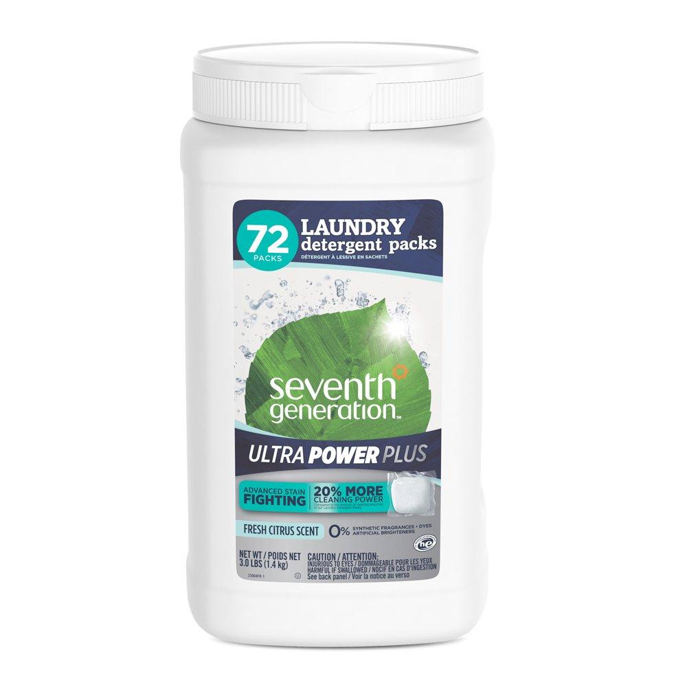 Seventh Generation Laundry Detergent Ultra Power Plus, Fresh Citrus, 72 Count