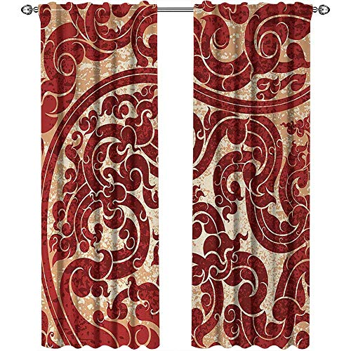 Antique, Curtains Pattern, Thai Culture Vector Abstract Background Flower Pattern Wallpaper Design Artwork Print, Curtains for Bedroom, W96 x L108 Inch, Ruby]()