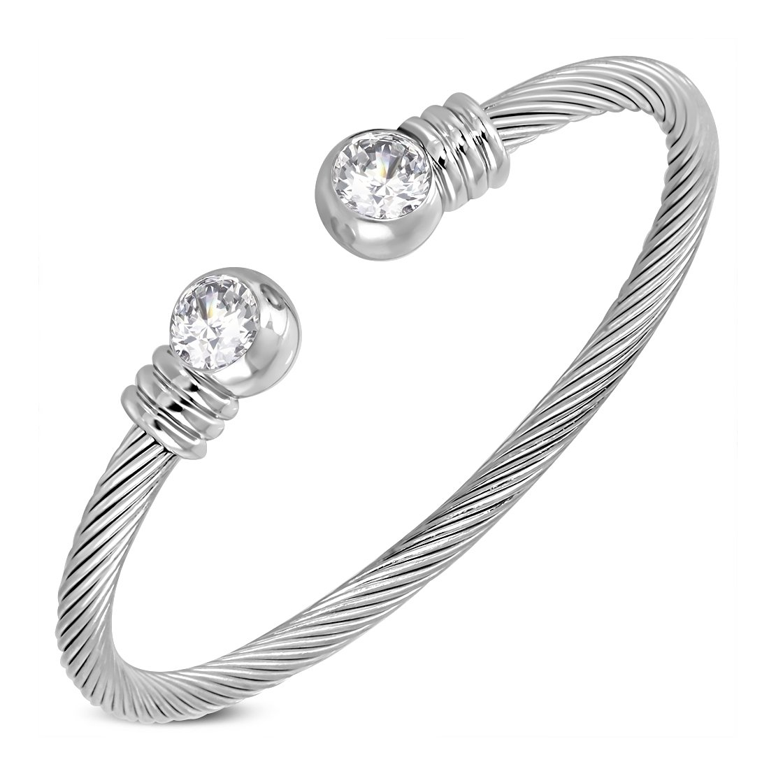 Stainless Steel Celtic Twisted Cable Wire Torc Cuff Bangle with Alloy Round End Caps /& Clear CZ Length 8