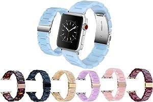 Mobile Advance Resin Band Bracelet for Apple Watch Series 6/SE/5/4/3/2/1 (Light Blue, 42mm/44mm)