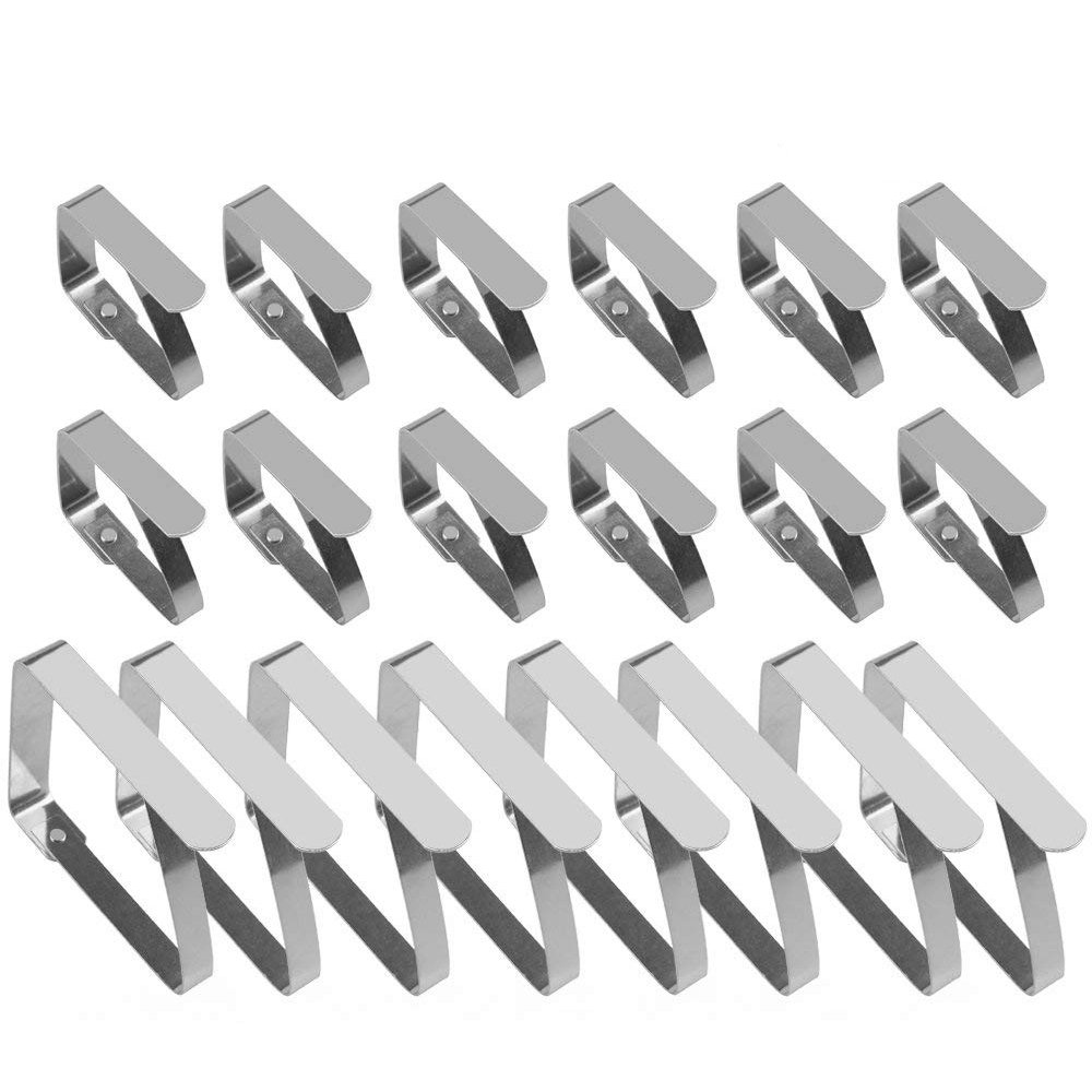 URBEST Tablecloth Clips Clamps, Adjustable Table Cloth Cover Stainless Steel 8pcs Big Size and 12pcs Small Size Flexible Clamps for Indoor, Outdoor, Home, Wedding, Party and Picnic
