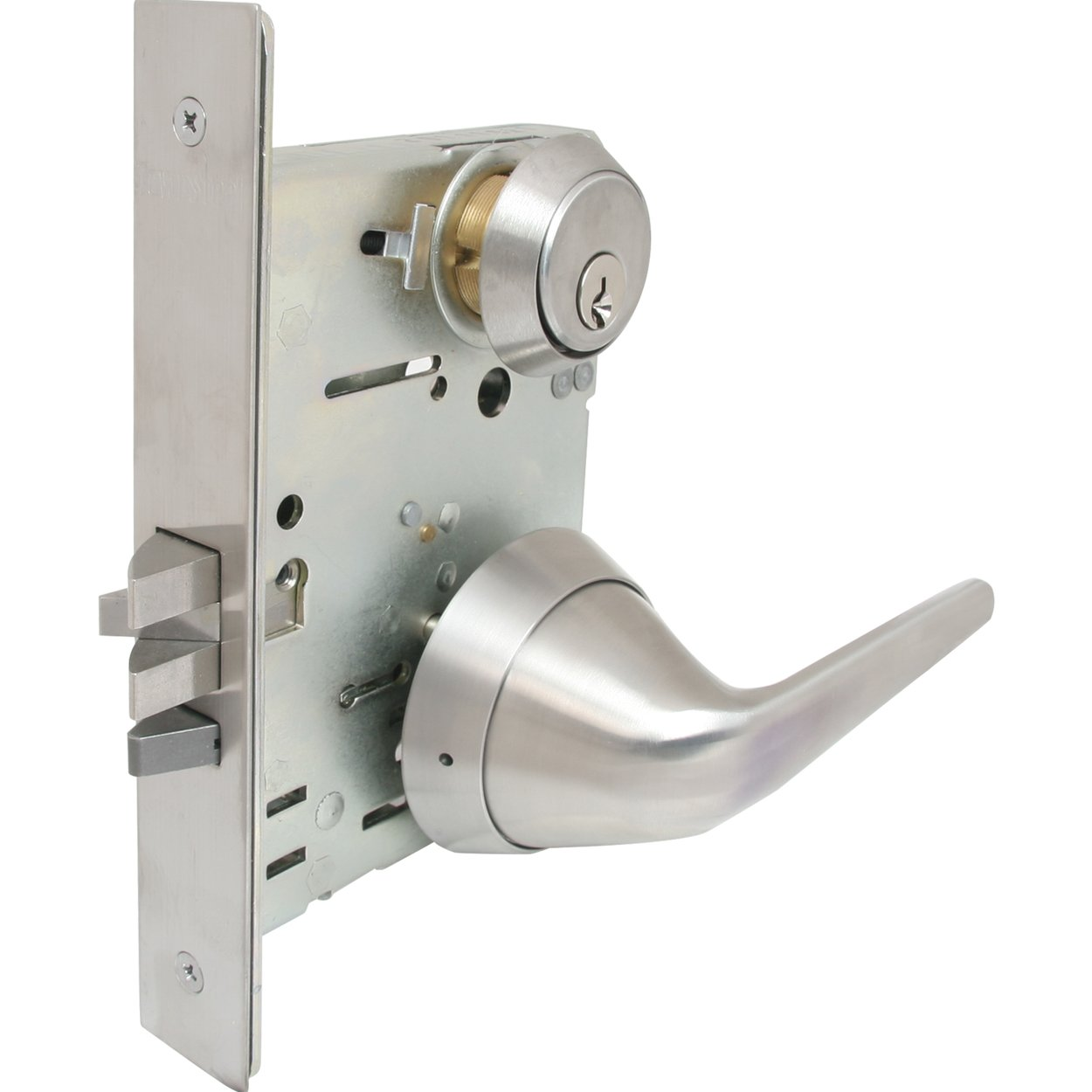 TownSteel MRX-S-L-07-32D Mortise Lock with Ligature Resistant Lever Trim, Grade 1, Storeroom Function, Satin Stainless Steel