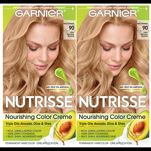 Garnier Hair Color Nutrisse Nourishing Creme, 90 Light Natural Blonde (Macadamia), 2 Count (Natural Red Hair With Strawberry Blonde Highlights)