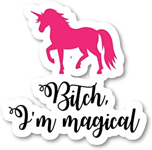 "Unicorn I'm Magical Sticker Inspirational Quotes Stickers - Laptop Stickers - 2.5"" Vinyl Decal - Laptop, Phone, Tablet Vinyl Decal Sticker S4246"