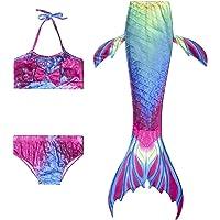 Proumhang 3 Pcs Mermaid Costume for Kids Girls Swimwear Swimming Costume Swimsuit Halloween Cosplay Mermaid Tail…
