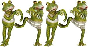 Ozzptuu 4 pcs/Set Resin Frog Pot Huggers, Decorative Frog Figurines Potting Ornaments for Office & Garden & Desk Decoration