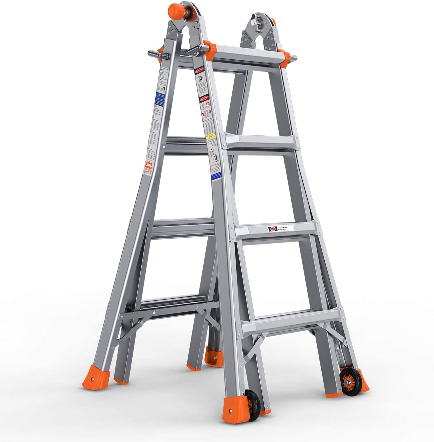 OT QOMOTOP 17 FT Telescoping Multi Position Ladder with Wheels