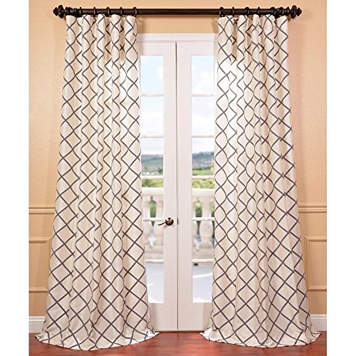 1 Piece 120 Inch Girls Pearl Color Flocked Faux Silk Embroidered Curtain Single Panel, White Color Window Drapes, Kids Themed Geometric Pattern Lined Rod Pocket Playful Luxurious, Nylon Polyester