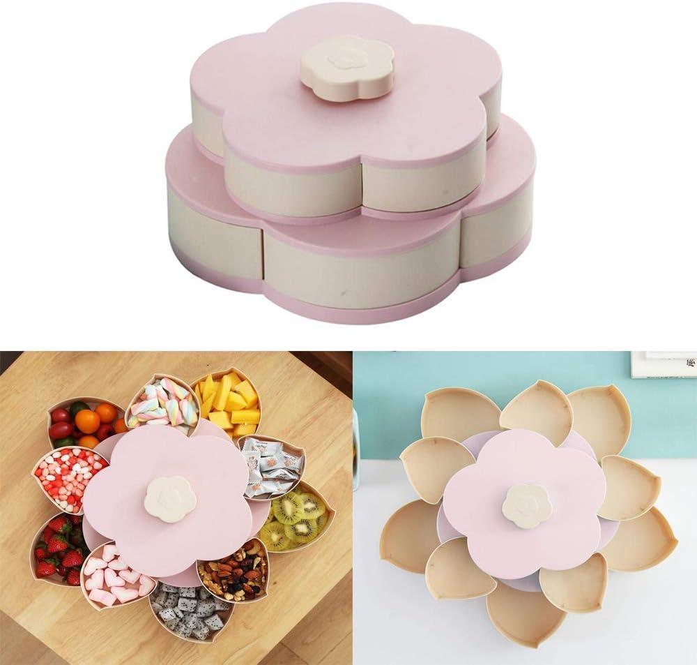 Rotación de la caja de caramelo, antideslizante forma de la flor Snack-Organizador con capas dobles, nueces semillas y frutos secos de almacenamiento para el hogar fiesta,Rosado