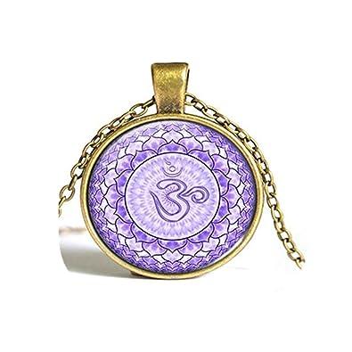 Mandala, loto, Om Collar, Yoga Meditación joya redonda de ...