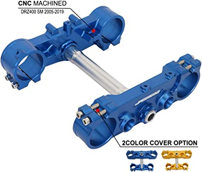 JFG RACING Motorcycle Triple Clamp,CNC Motorcycle Tree Fork Clamp Steering Stem For DRZ400SM 2005-2019(Blue)