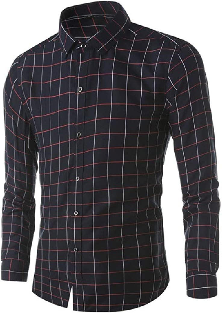 DressU Mens Long Sleeve Turn Down Collar Silm Fit Plaid Bussiness Autumn Longshirt