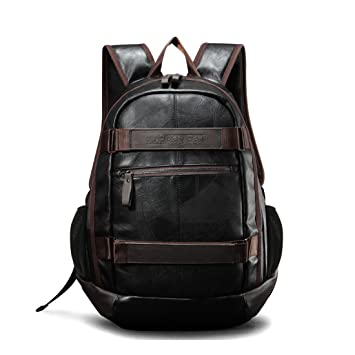 Maod Hombre Negocios Mochila Portátiles Estilo Retro mochilas escolares Cuero Bolsa de escuela Impermeable laptop backpack 15 (Negro): Amazon.es: ...