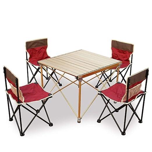 MDBYMX Mesa de Camping Plegable Mesa Plegable y Juego de 4 sillas ...