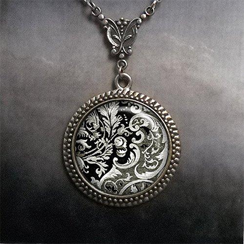 Victorian Design Art necklace,Victorian jewelry, black & white jewelry,Victorian glass dome pendant,photo pendant,glass dome necklace