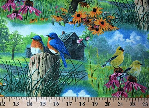 Country Birds Floral Robins Yellow Bird Trees Field Scenic Handcrafted Curtain Valance (Floral Fields Valance)