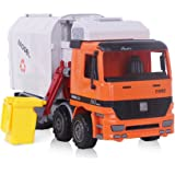 """Garbage Truck, Sanitation Plastic Truck Toy Model with Trashcans, 14"""" Die Cast Friction Powered Simulation Inertia Rubbish Car for Kids"""
