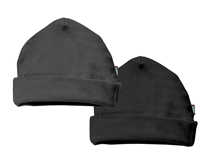 100% Cotton Baby Beanie Cap Hat Skull Cap Newborn Infant - Charcoal Black - 465210a7912