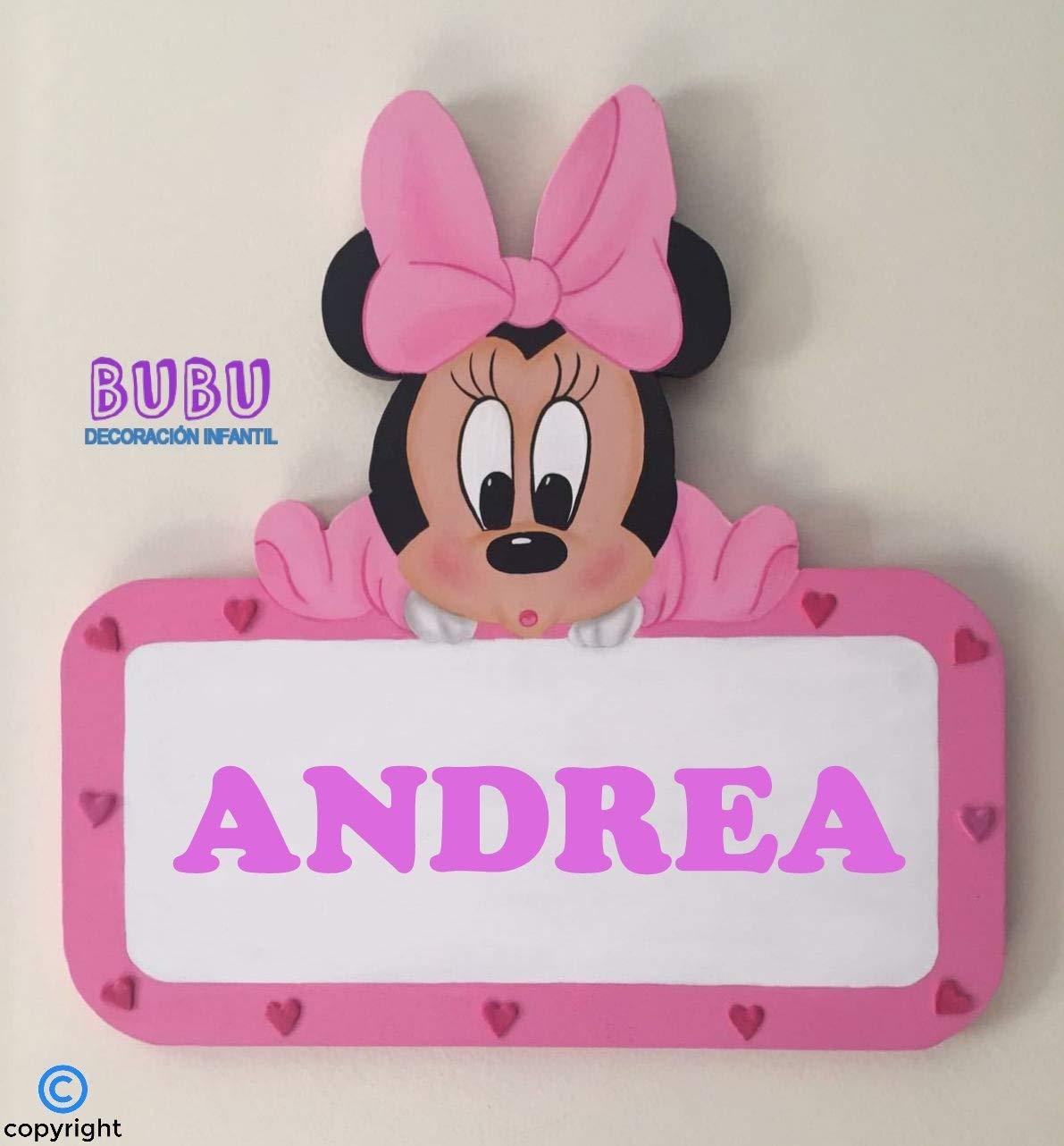 Placa infantil de Minnie con nombre: Amazon.es: Handmade