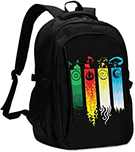 Personalized Backpack With Usb Charger Port Particular Avatar The Last Legend Airbender Of Korra Aang Laptop School Bag Waterproof Business Travel Rucksack Multipurpose Daypack For Teens And Adult