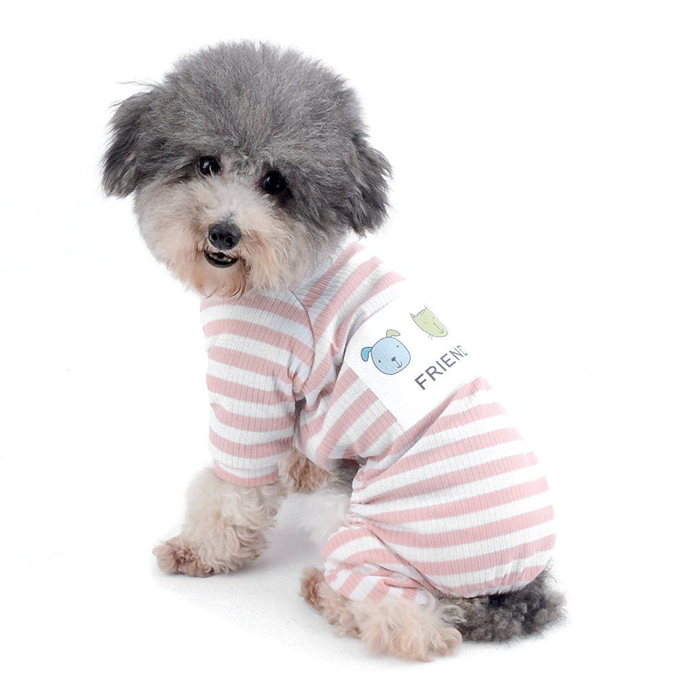 Ranphy Small Dog Stripe Pajamas Comfy Cotton Pet Clothes Puppy Outfit Cat Apparel Doggy Pyjamas PJS Shirt Yorkie Jumpsuit Girls Boys for Summer Autumn Pink Size XL